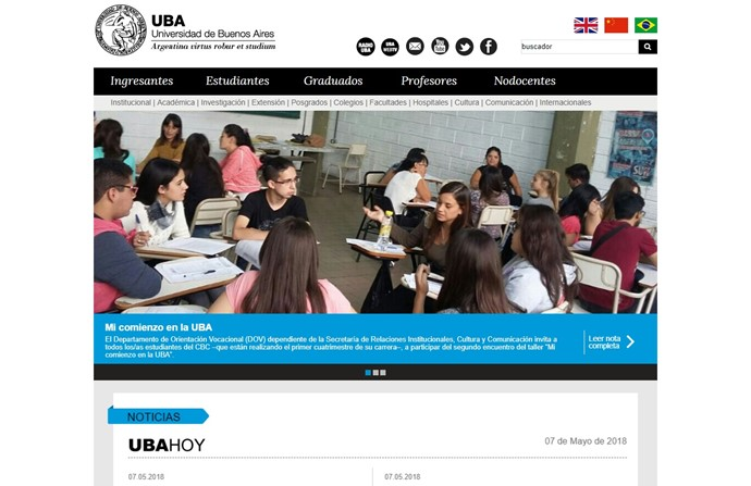 University of Buenos Aires Website