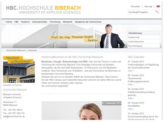 Biberach University of Applied Sciences Website