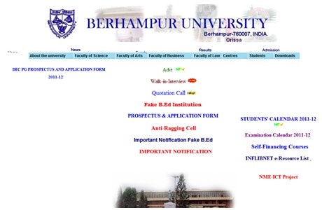 Berhampur University Website