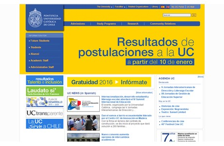 Pontifical Catholic University of Chile Website