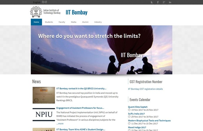 Indian Institute of Technology Bombay Website