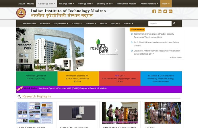 Indian Institute of Technology Madras Website