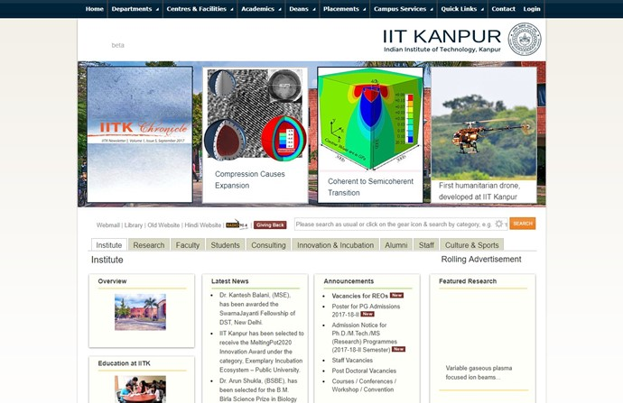 Indian Institute of Technology Kanpur Website