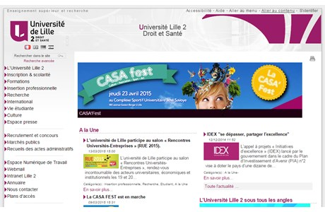 Lille 2 University of Health and Law Website